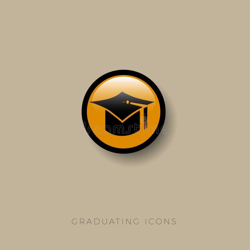 Εικονίδιο βαθμολόγησης Διαβαθμισμένο σύμβολο Σπουδαστής ` s ΚΑΠ σε έναν κίτρινο κύκλο ο Ιστός τρακτέρ εικονιδίων ανασκόπησης κύλη ελεύθερη απεικόνιση δικαιώματος
