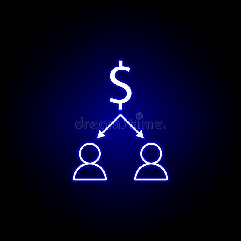 εικονίδιο βελών εργαζομένων δολαρίων στο ύφος νέου Στοιχείο της απεικόνισης χρηματοδότησης Το εικονίδιο σημαδιών και συμβόλων μπο διανυσματική απεικόνιση