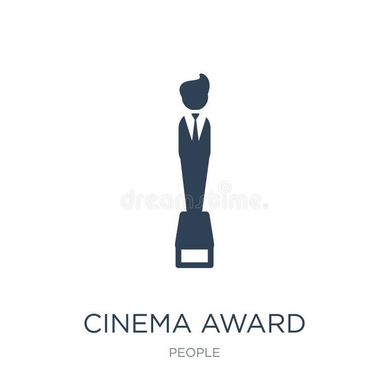 εικονίδιο βραβείων κινηματογράφων στο καθιερώνον τη μόδα ύφος σχεδίου εικονίδιο βραβείων κινηματογράφων που απομονώνεται στο άσπρ ελεύθερη απεικόνιση δικαιώματος
