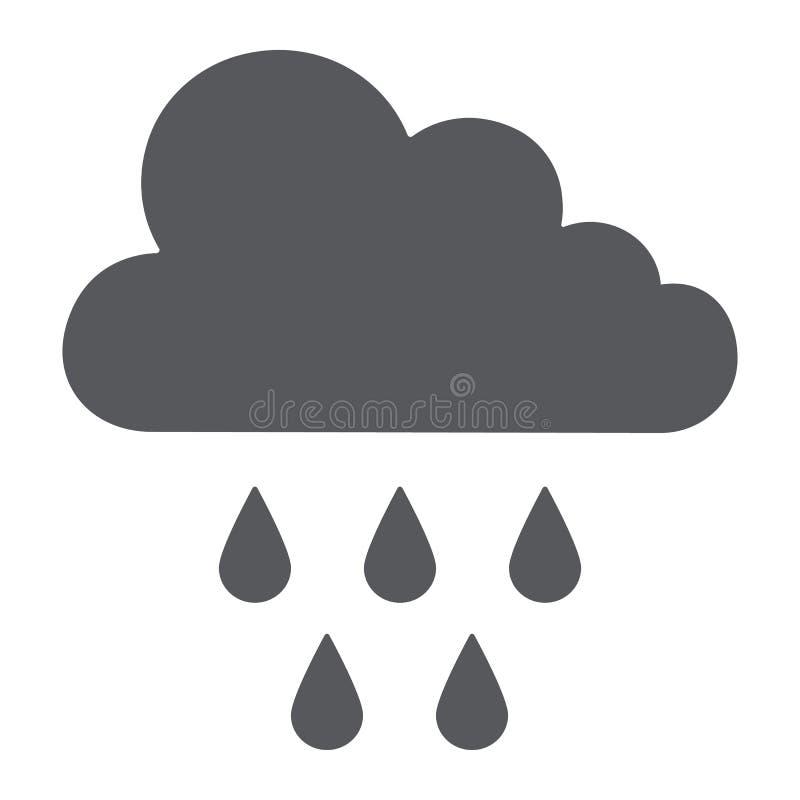 Εικονίδιο βροχής glyph, καιρός και κλίμα, σύννεφο με το σημάδι βροχής, διανυσματική γραφική παράσταση, ένα στερεό σχέδιο σε ένα ά απεικόνιση αποθεμάτων