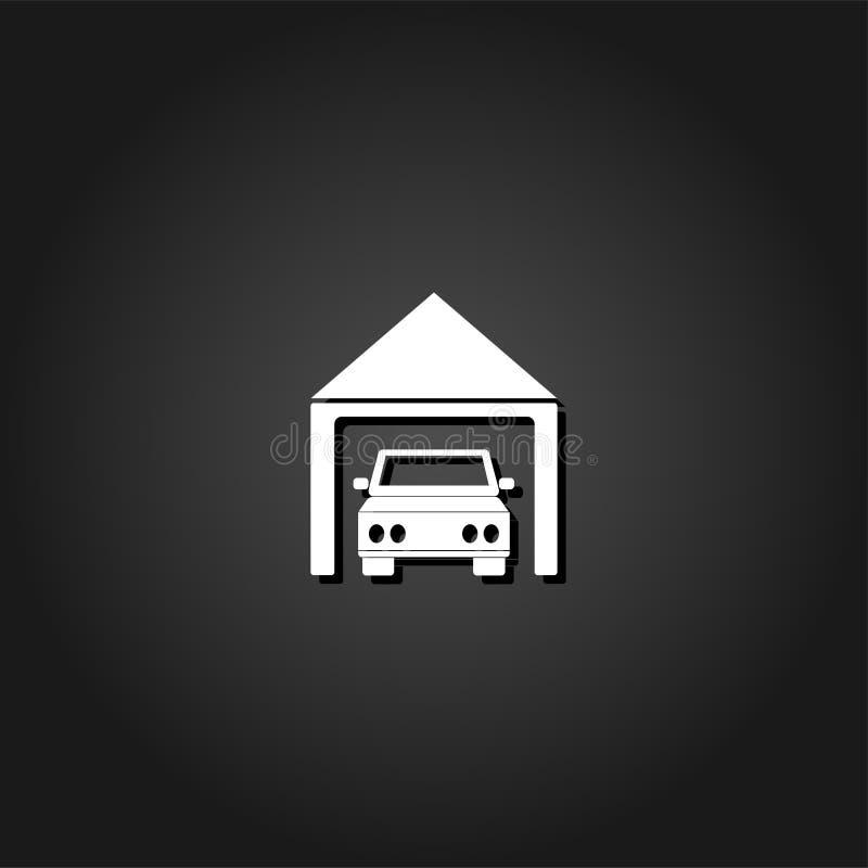 Εικονίδιο γκαράζ αυτοκινήτων επίπεδο απεικόνιση αποθεμάτων