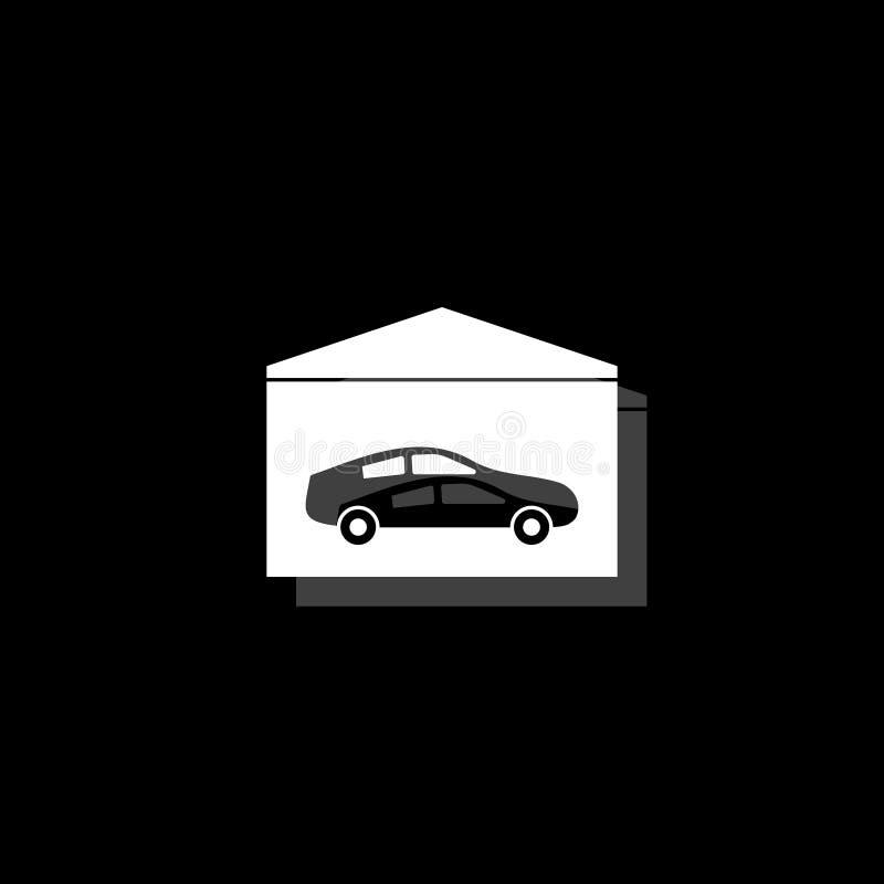Εικονίδιο γκαράζ επίπεδο διανυσματική απεικόνιση