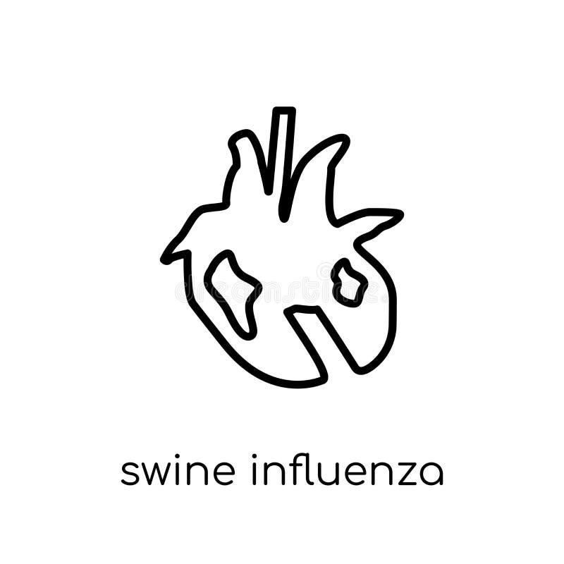 Εικονίδιο γρίπης χοίρων Καθιερώνοντες τη μόδα σύγχρονοι επίπεδοι γραμμικοί διανυσματικοί χοίροι INF διανυσματική απεικόνιση