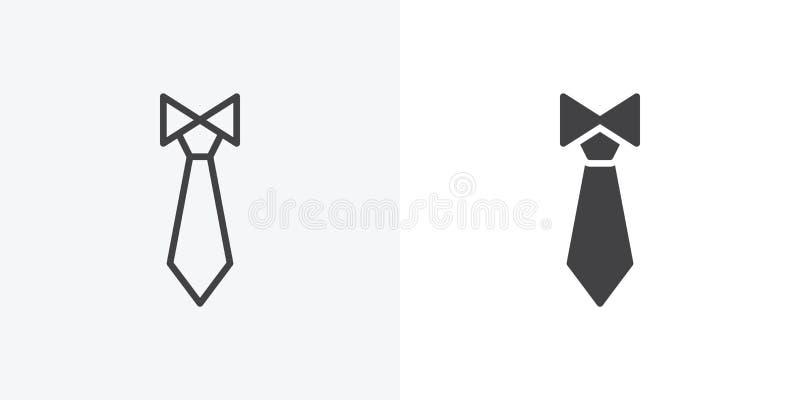Εικονίδιο γραβατών γραμμή και glyph έκδοση διανυσματική απεικόνιση