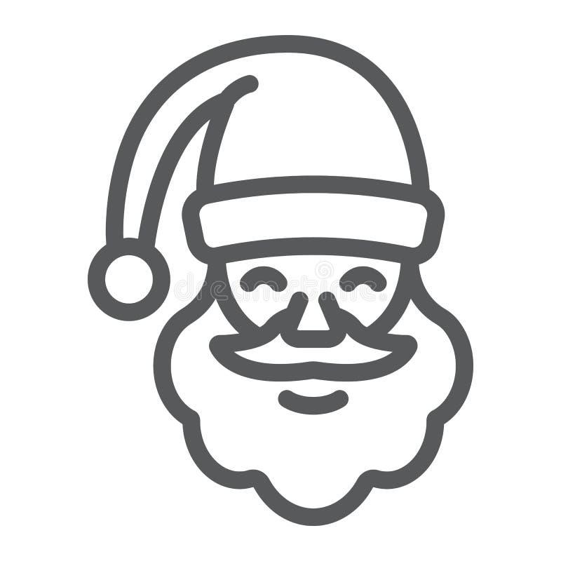 Εικονίδιο γραμμών Άγιου Βασίλη, Χριστούγεννα και χαρακτήρας, σημάδι προσώπου, διανυσματική γραφική παράσταση, ένα γραμμικό σχέδιο διανυσματική απεικόνιση