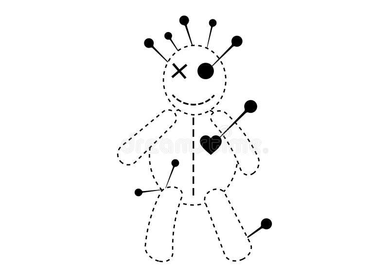 Εικονίδιο γραμμών έννοιας αποκριών κουκλών βουντού, κούκλα κινούμενων σχεδίων στην απλήρωτη αγάπη, σχέδιο μπλουζών, που απομονώνε απεικόνιση αποθεμάτων