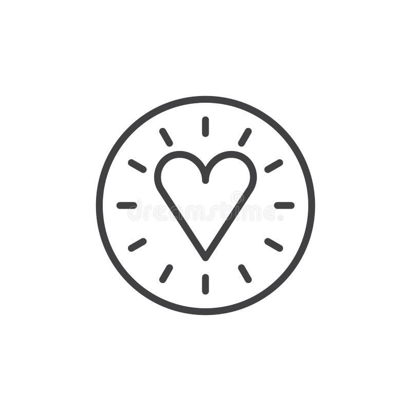Εικονίδιο γραμμών αγάπης καρδιών διανυσματική απεικόνιση