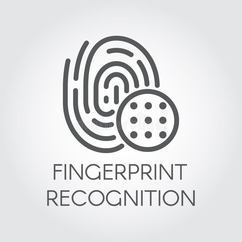 Εικονίδιο γραμμών αναγνώρισης δακτυλικών αποτυπωμάτων Βιομετρικό σημάδι δάχτυλων ανίχνευσης ταυτότητας Σημάδι επαλήθευσης Τεχνολο απεικόνιση αποθεμάτων