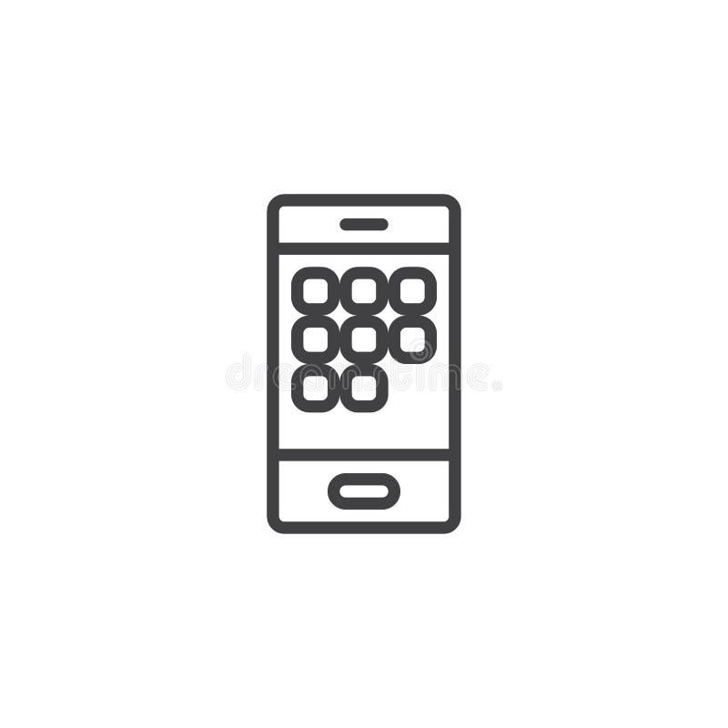 Εικονίδιο γραμμών αριθμού πινάκων Smartphone διανυσματική απεικόνιση