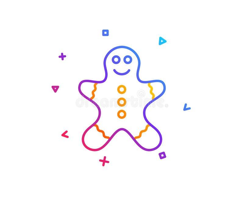 Εικονίδιο γραμμών ατόμων μελοψωμάτων Σημάδι μπισκότων πιπεροριζών διάνυσμα διανυσματική απεικόνιση