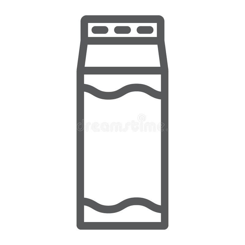 Εικονίδιο γραμμών γάλακτος, τρόφιμα και ποτό, σημάδι ποτών, διανυσματική γραφική παράσταση, ένα γραμμικό σχέδιο σε ένα άσπρο υπόβ διανυσματική απεικόνιση