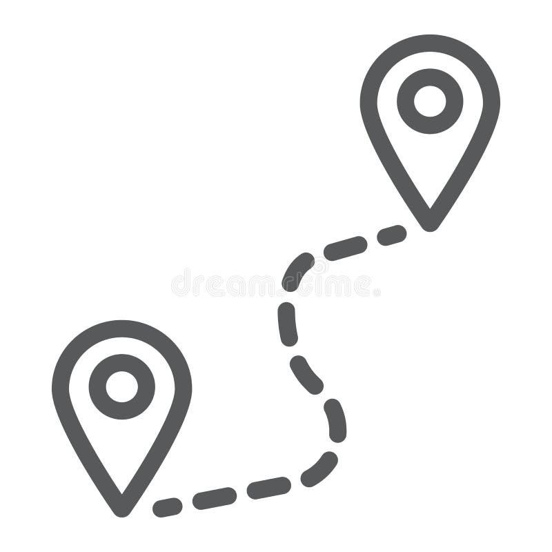 Εικονίδιο γραμμών διαδρομών, ταξίδι και τουρισμός, σημάδι θέσης ελεύθερη απεικόνιση δικαιώματος