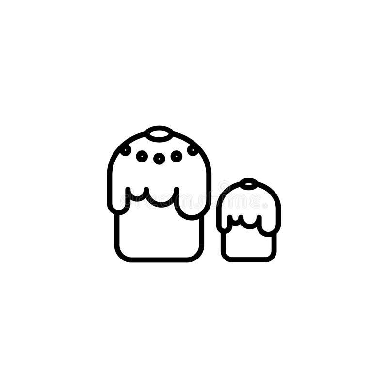 Εικονίδιο γραμμών διακοσμητική παράδοση Πάσχας κέικ ψωμιού διανυσματική απεικόνιση