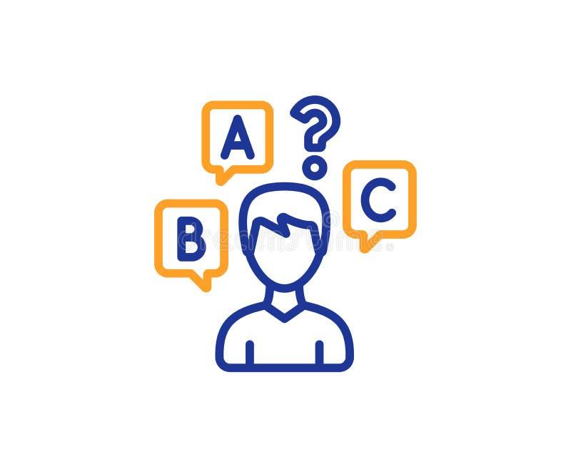 Εικονίδιο γραμμών δοκιμής διαγωνισμοου γνώσεων Επιλέξτε το σημάδι απάντησης διάνυσμα διανυσματική απεικόνιση