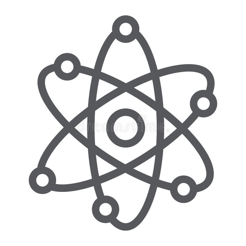 Εικονίδιο γραμμών δομών ατόμων, επιστημονικός και πυρηνικός, σημάδι πυρήνων, διανυσματική γραφική παράσταση, ένα γραμμικό σχέδιο  απεικόνιση αποθεμάτων