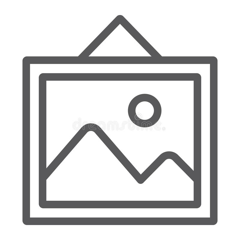 Εικονίδιο γραμμών εικόνων, σπίτι και πλαίσιο, σημάδι φωτογραφιών, διανυσματική γραφική παράσταση, ένα γραμμικό σχέδιο σε ένα άσπρ διανυσματική απεικόνιση