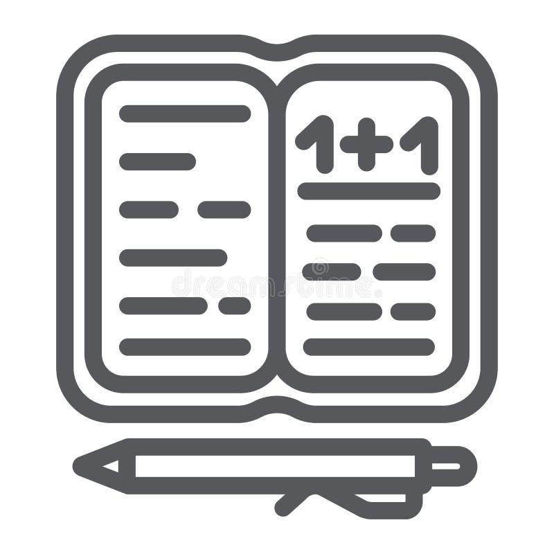 Εικονίδιο γραμμών εργασίας, έγγραφο και σχολείο, σημειωματάριο με το σημάδι μανδρών, διανυσματική γραφική παράσταση, ένα γραμμικό ελεύθερη απεικόνιση δικαιώματος
