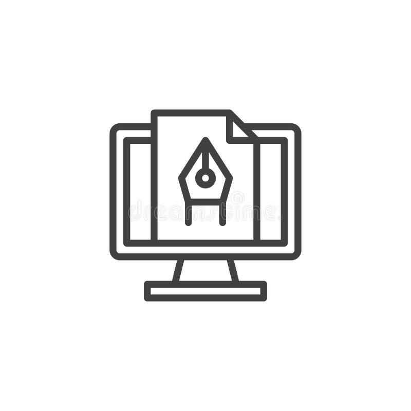 Εικονίδιο γραμμών ηλεκτρονικής γραφιστικής διανυσματική απεικόνιση