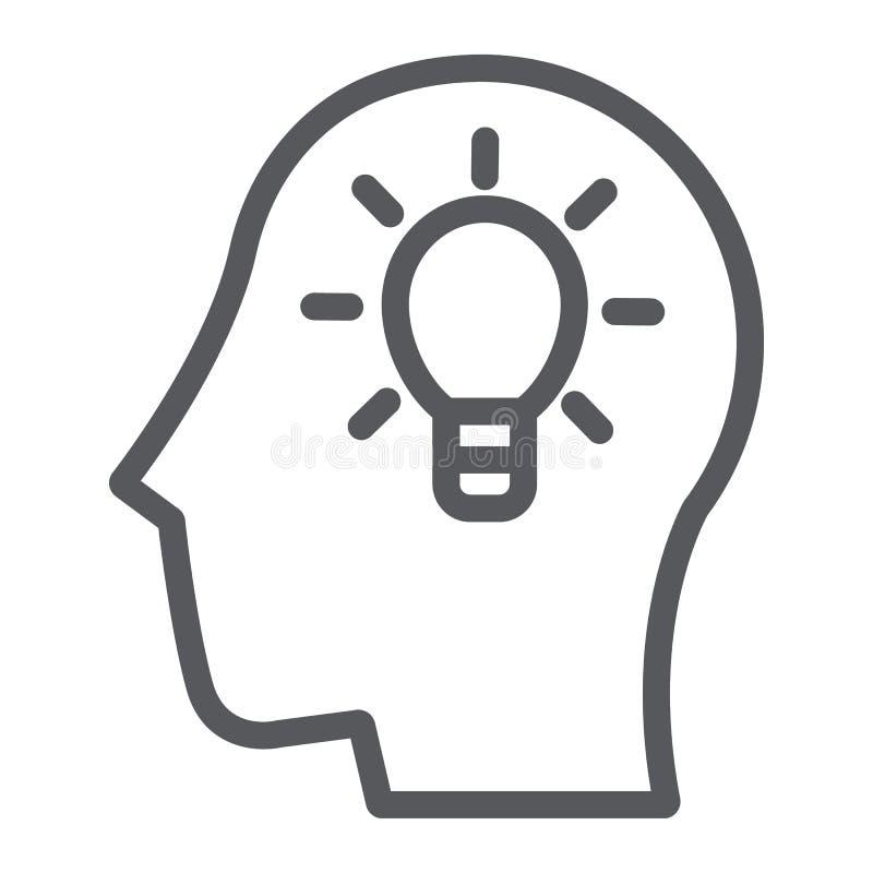 Εικονίδιο γραμμών ιδέας, δημιουργικός και καινοτομία, κεφάλι με το σημάδι λαμπτήρων, διανυσματική γραφική παράσταση, ένα γραμμικό ελεύθερη απεικόνιση δικαιώματος