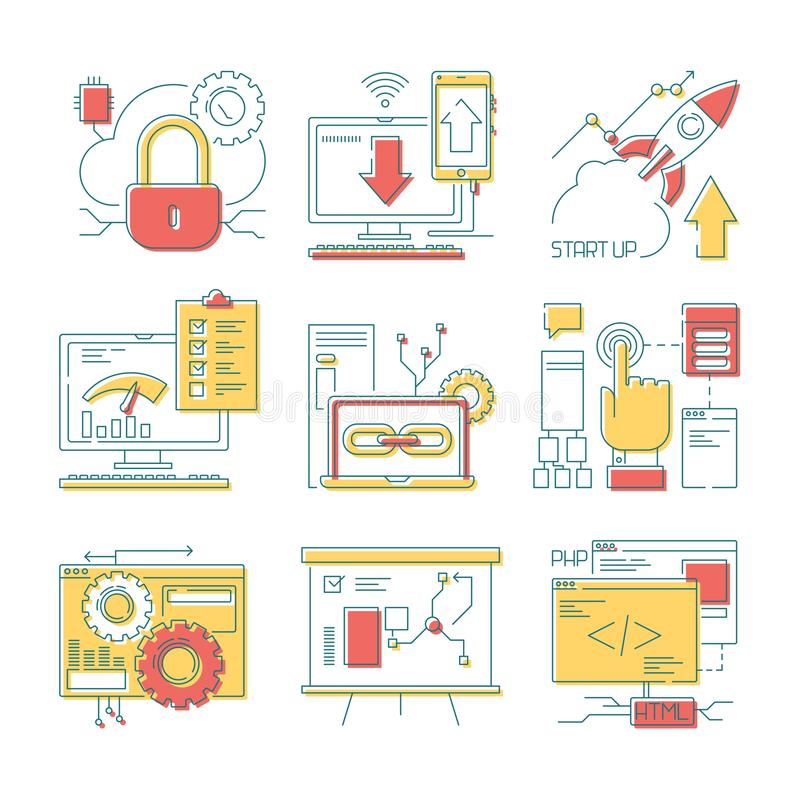 Εικονίδιο γραμμών ιστοχώρου Σε απευθείας σύνδεση εργαλεία Ιστού κινητά και ψηφιακοί κώδικας ανάπτυξης Ιστού και διάνυσμα σχεδίων διανυσματική απεικόνιση