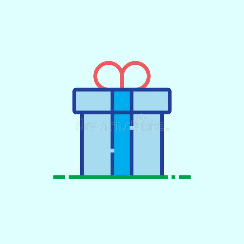 Εικονίδιο γραμμών κιβωτίων δώρων, διανυσματική απεικόνιση λογότυπων περιλήψεων, ο γραμμικός συνταγματάρχης διανυσματική απεικόνιση
