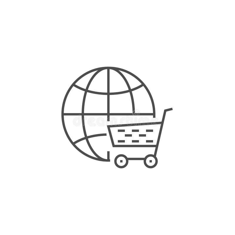 Εικονίδιο γραμμών λύσης ηλεκτρονικού εμπορίου διανυσματική απεικόνιση