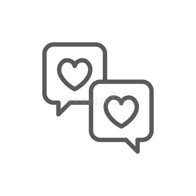 Εικονίδιο γραμμών μηνυμάτων αγάπης ελεύθερη απεικόνιση δικαιώματος
