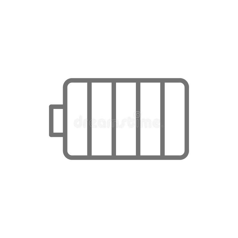 Εικονίδιο γραμμών μπαταριών συσσωρευτών ηλεκτρικής ενέργειας o απεικόνιση αποθεμάτων