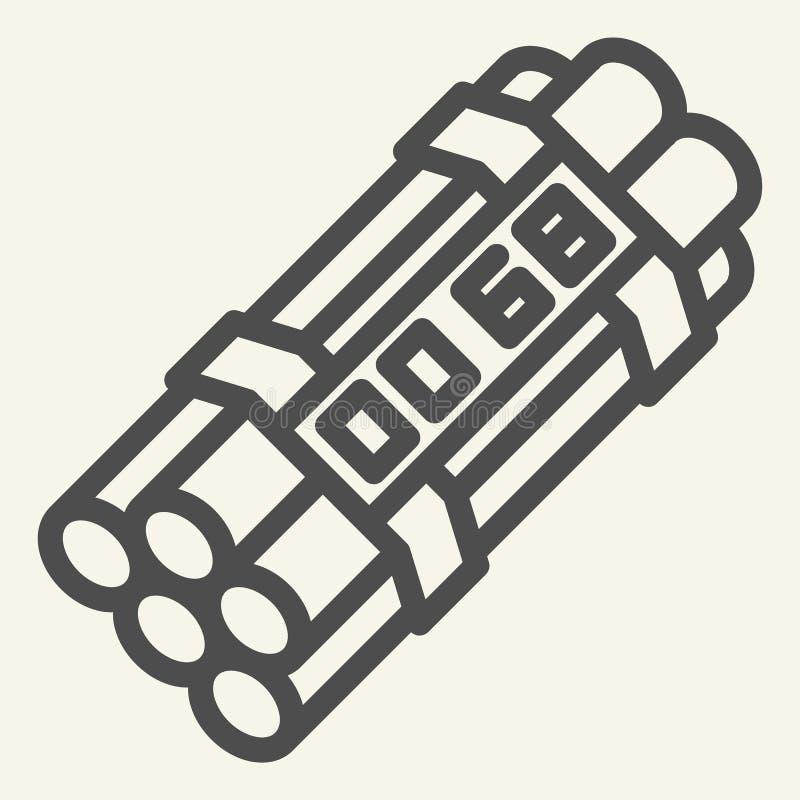 Εικονίδιο γραμμών ορολογιακών βομβών Δυναμίτη απεικόνιση που απομονώνεται διανυσματική στο λευκό Σχέδιο ύφους περιλήψεων εκπυρσοκ απεικόνιση αποθεμάτων