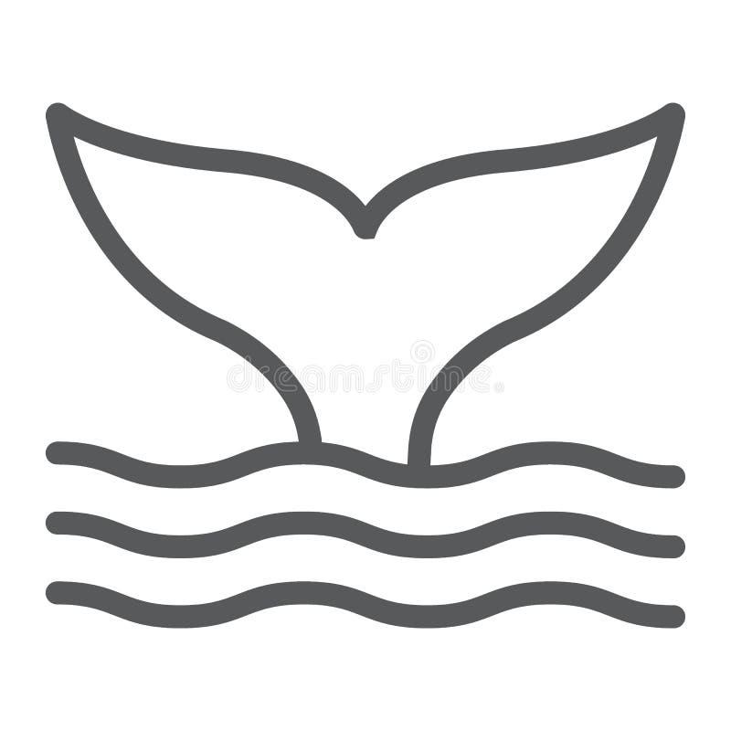Εικονίδιο γραμμών ουρών φαλαινών, ζωικός και υποβρύχιος απεικόνιση αποθεμάτων