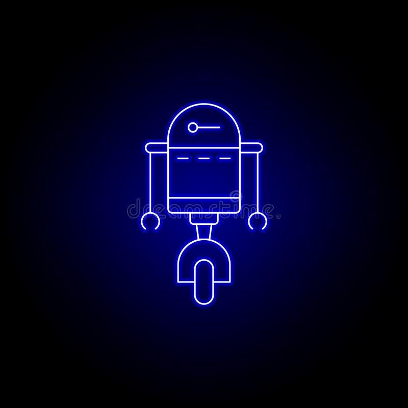 εικονίδιο γραμμών πειρατών ρομπότ στο μπλε ύφος νέου E απεικόνιση αποθεμάτων