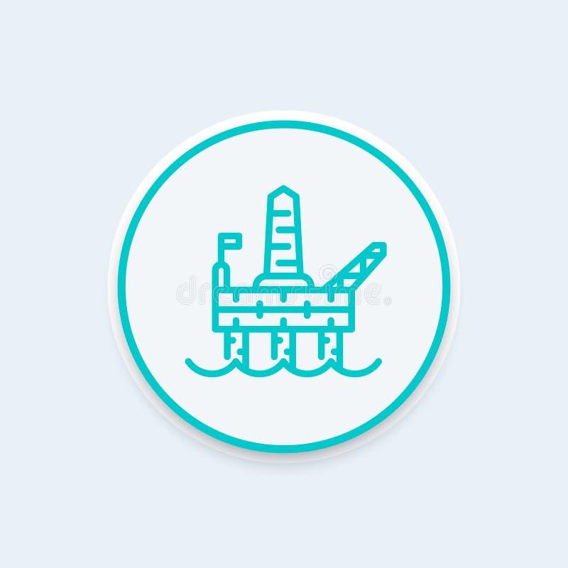 Εικονίδιο γραμμών πλατφορμών γεώτρησης πετρελαίου, παράκτια πλατφόρμα άντλησης πετρελαίου διανυσματική απεικόνιση