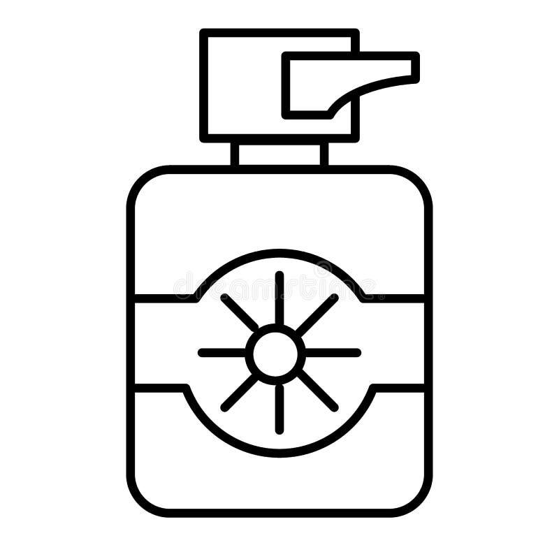 Εικονίδιο γραμμών προστασίας suncream λεπτό Ήλιων λοσιόν απεικόνιση που απομονώνεται διανυσματική στο λευκό Μπουκάλι sunscreen τη διανυσματική απεικόνιση