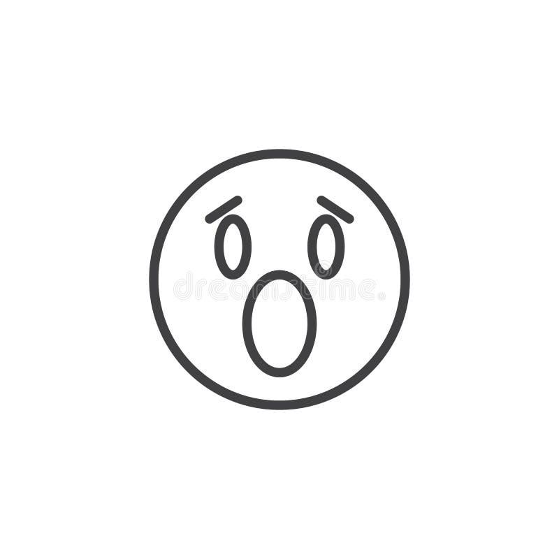 Εικονίδιο γραμμών προσώπου emoji Anguished ελεύθερη απεικόνιση δικαιώματος