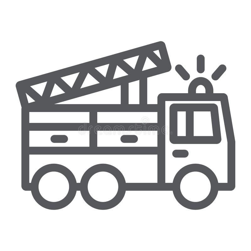 Εικονίδιο γραμμών πυροσβεστικών οχημάτων, μεταφορά και έκτακτη ανάγκη, σημάδι αυτοκινήτων πυροσβεστών, διανυσματική γραφική παράσ απεικόνιση αποθεμάτων