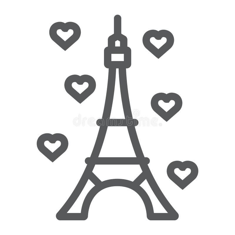 Εικονίδιο γραμμών πύργων του Άιφελ, Γαλλία και Παρίσι, σημάδι αρχιτεκτονικής, διανυσματική γραφική παράσταση, ένα γραμμικό σχέδιο ελεύθερη απεικόνιση δικαιώματος