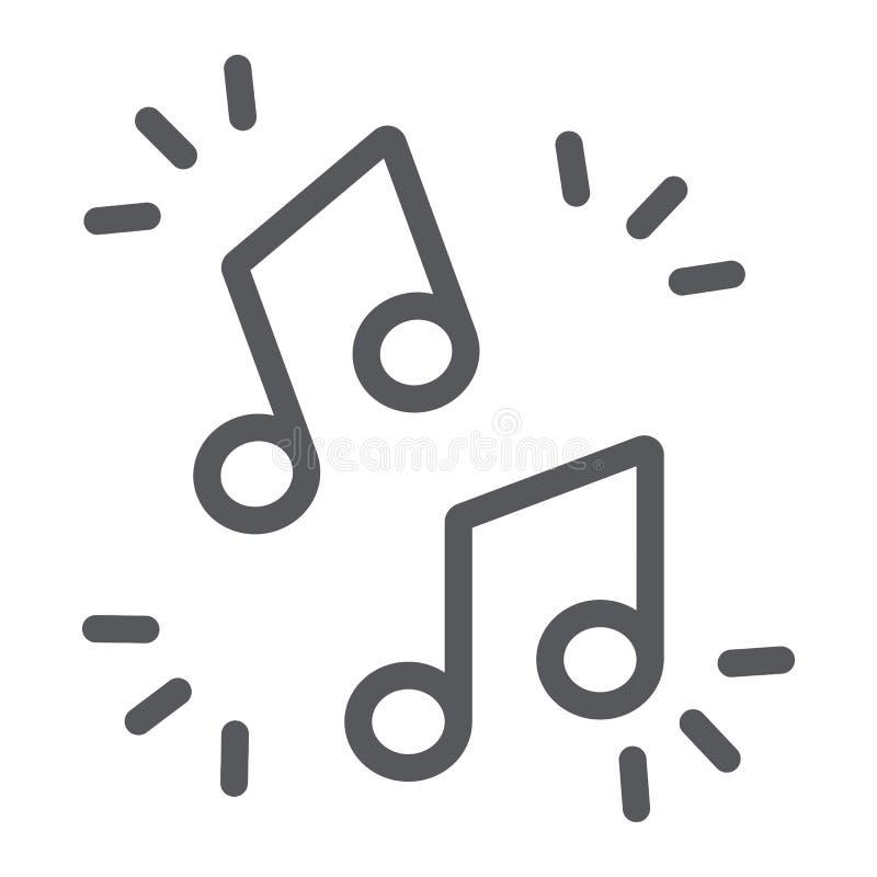 Εικονίδιο γραμμών σημειώσεων μουσικής, μουσικός και υγιής, σημάδι μελωδίας, διανυσματική γραφική παράσταση, ένα γραμμικό σχέδιο σ ελεύθερη απεικόνιση δικαιώματος