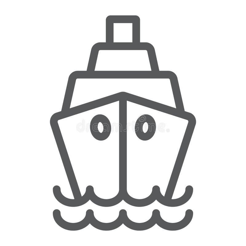 Εικονίδιο γραμμών σκαφών, κρουαζιέρα και πανί, σημάδι βαρκών, διανυσματική γραφική παράσταση, ένα γραμμικό σχέδιο σε ένα άσπρο υπ απεικόνιση αποθεμάτων