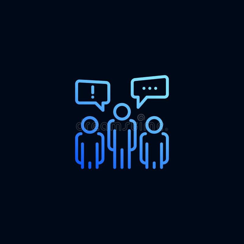 Εικονίδιο γραμμών συνομιλίας ομάδας επιχειρηματιών Διανυσματική απεικόνιση στο γραμμικό ύφος ελεύθερη απεικόνιση δικαιώματος