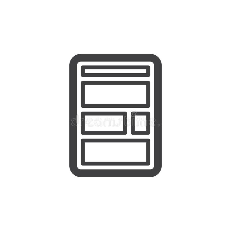 Εικονίδιο γραμμών σχεδιαγράμματος ιστοχώρου απεικόνιση αποθεμάτων