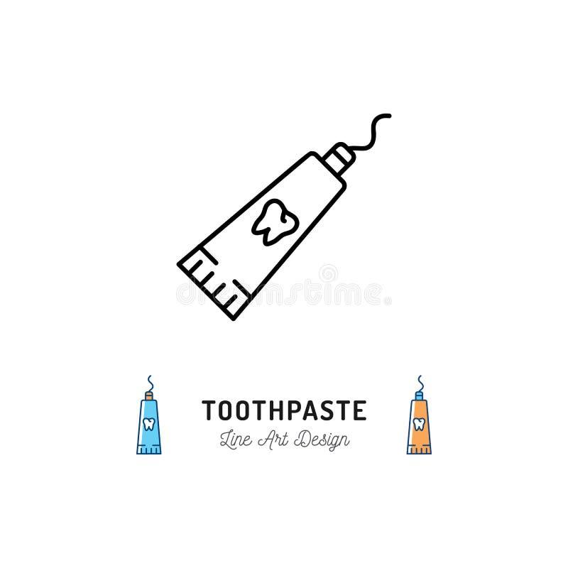 Εικονίδιο γραμμών σωλήνων οδοντόπαστας, οδοντικό λογότυπο υγιεινής Διανυσματική επίπεδη απεικόνιση διανυσματική απεικόνιση