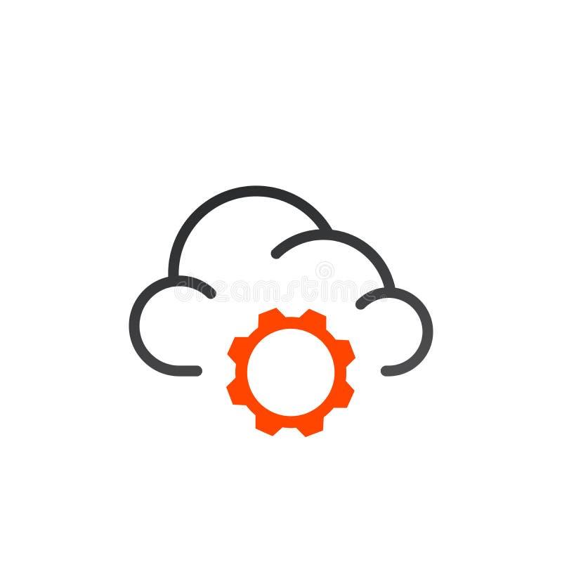 Εικονίδιο γραμμών τοποθετήσεων υπολογισμού σύννεφων γραμμικό σημάδι ύφους για το κινητό σχέδιο έννοιας και Ιστού Αποθήκευση σύννε διανυσματική απεικόνιση