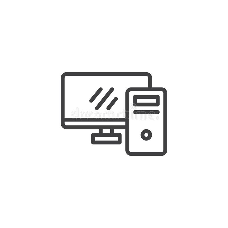 Εικονίδιο γραμμών υπολογιστών γραφείου απεικόνιση αποθεμάτων
