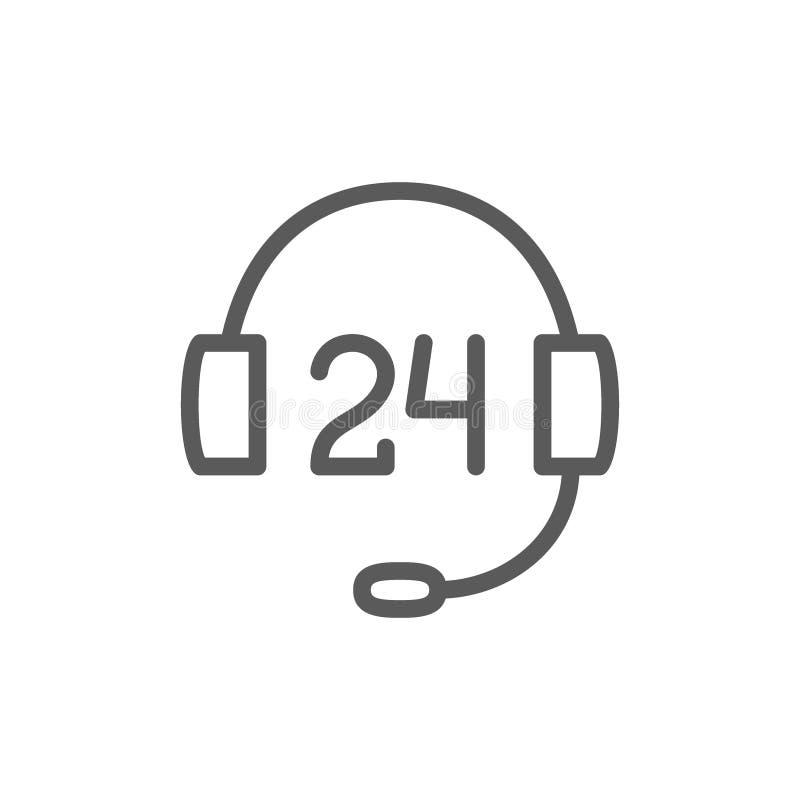 εικονίδιο γραμμών υποστήριξης υπηρεσιών 24 ωρών διανυσματική απεικόνιση