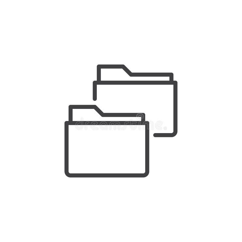Εικονίδιο γραμμών φακέλλων αρχείων αντιγράφων διανυσματική απεικόνιση