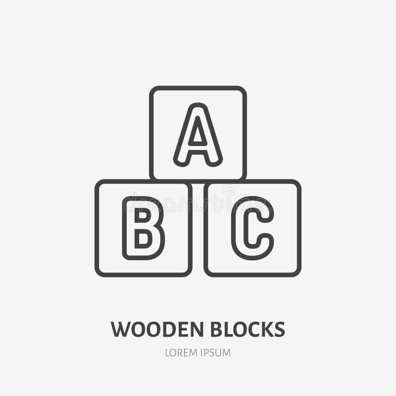 Εικονίδιο γραμμών φραγμών παιχνιδιών, επίπεδο λογότυπο κύβων αλφάβητου Διανυσματική απεικόνιση παιχνιδιών ABS μωρών Σημάδι για το ελεύθερη απεικόνιση δικαιώματος