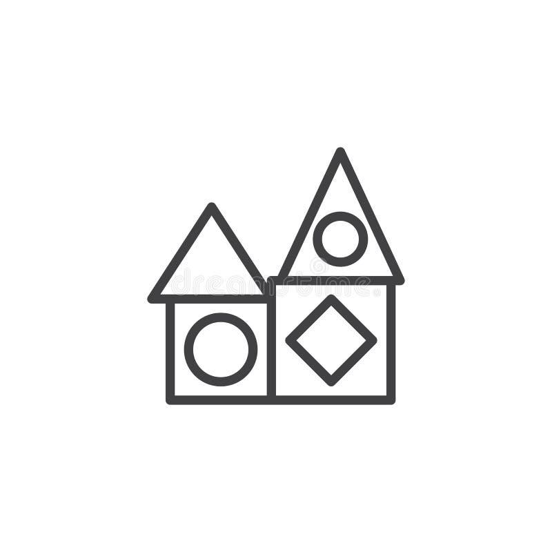 Εικονίδιο γραμμών φραγμών παιχνιδιών σπιτιών διανυσματική απεικόνιση