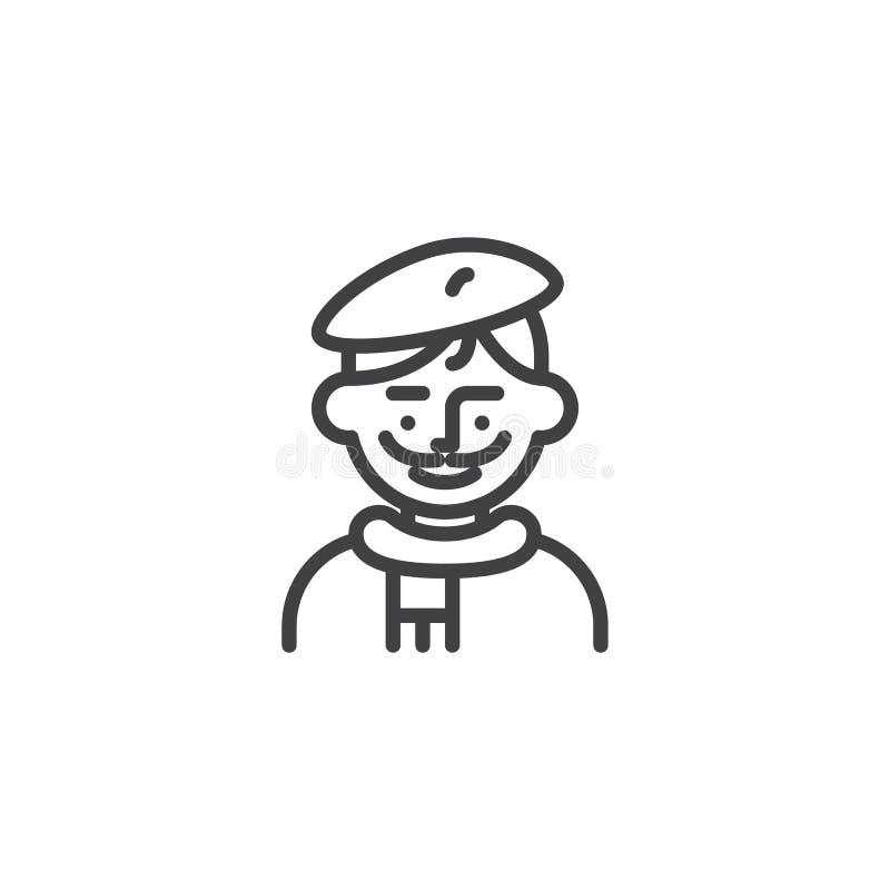 Εικονίδιο γραμμών χαρακτήρα ειδώλων καλλιτεχνών ατόμων ελεύθερη απεικόνιση δικαιώματος