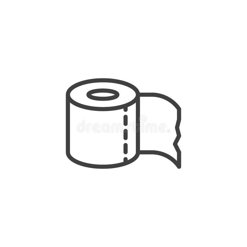 Εικονίδιο γραμμών χαρτιού τουαλέτας διανυσματική απεικόνιση