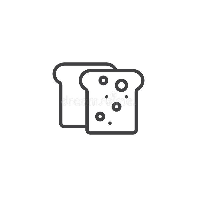 Εικονίδιο γραμμών ψωμιού φρυγανιάς απεικόνιση αποθεμάτων